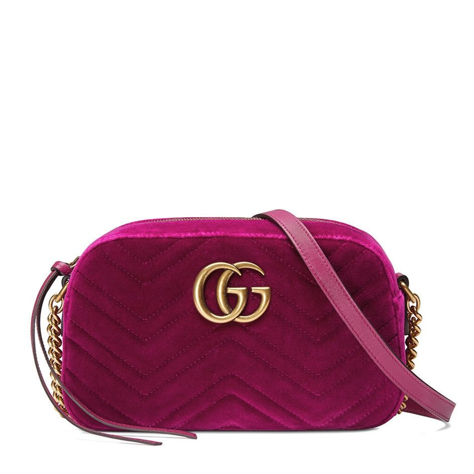 5da80ecd502 GUCCI Marmont Small Shoulder Bag Velvet - Fuchsia - Adorn Collection