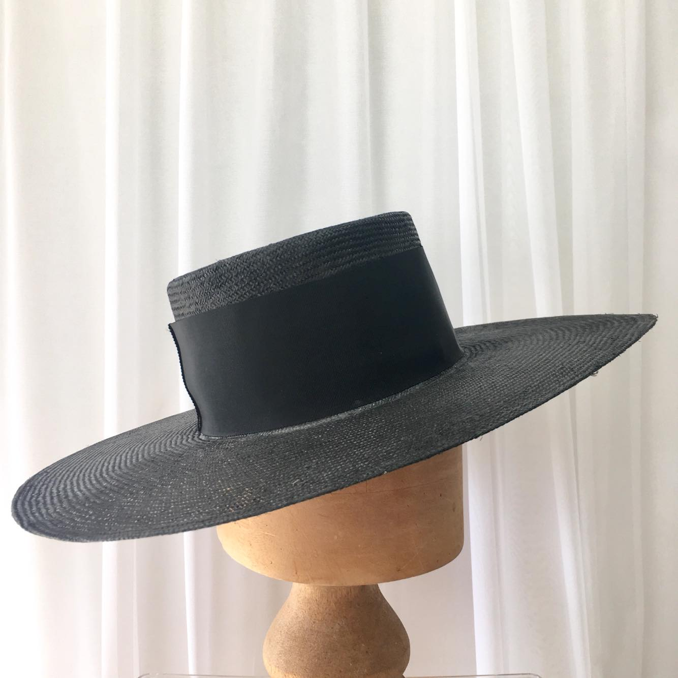 Black wide brim boater - Adorn Collection ac3629a8585