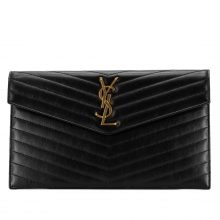 YSL Quilted V-flap Pouch Clutch – Black