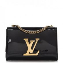 LOUIS VUITTON Patent Louise MM Chain Bag – Black