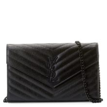 YSL Chain Clutch Monogram – Black