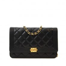 CHANEL Lambskin Boy Wallet on Chain Bag – Black/Gold