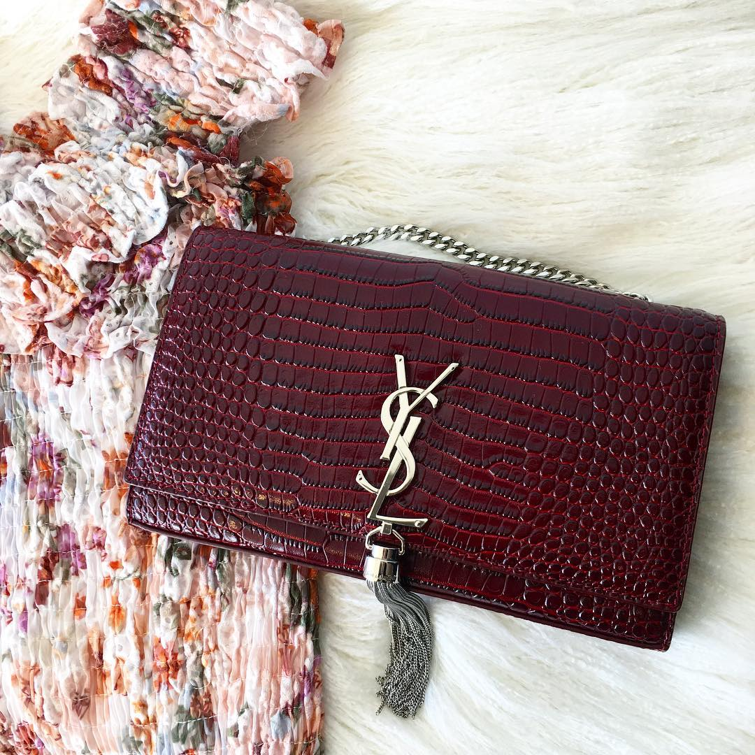 Ysl Medium Kate Tassel Bag Burgundy Croc Adorn Collection