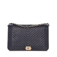 CHANEL Caviar Chevron Wallet on Chain Bag – Black/Gold