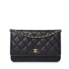 CHANEL Caviar Wallet on Chain Bag – Black/Gold